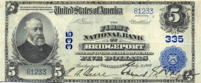5 Dollar National Currency 21.07.1909 The First National Bank of Bridgeport, Connecticut - Vs - XF+ - 81233.jpg